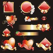 Set with Valentines design elements. (Vector illustration)