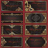 Set of black business cards. (vector illustration)