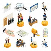Social Security Isometric Icons, Unemployment, Supports For Families, Students And Single Mothers, D poster