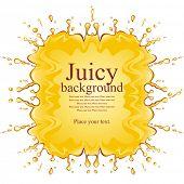 Orange juice background. Blot. Vector illustration.