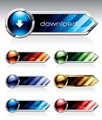 Set of reflective web buttons in six colors. Please visit my portfolio to find similar graphics.