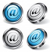 Four shiny web buttons with arobase symbols