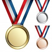 Three detailed vector medals with room for your texts or images - gold, silver and bronze