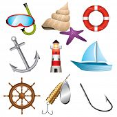stock photo of spinner  - Set of 9 sea related vector icons - JPG