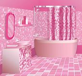 Girl's luxury pink bathroom interior, no gradient mesh, only simple gradients used.