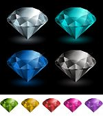 Vector multicolored gemstones collection