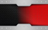 Geometric Red Mesh Background With A Metallic Hued Frame With Rivets. poster