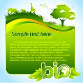 Green bio template with tree and wild life