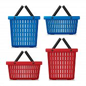 Set Of Red And Blue Empty Laundry Basket Isolated. Basket To Wash With Washing Machine. Vector Illus poster