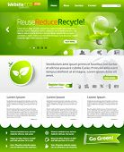Green eco vector website template with lighbulb 3