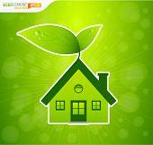 Casa verde com folhas e bokeh