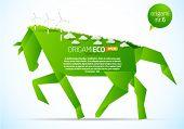 grüne Origami Eco Pferd nr. 6