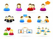 Colorful social media people icon set