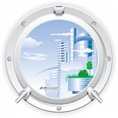 Closed steel porthole overlooking the city of the future. Vector.