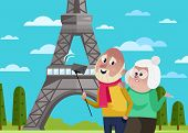 Smiling Old Couple Doing Selfie On Background Of Eiffel Tower In Paris. Active Elderly Concept With  poster