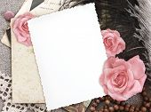 stock photo of rose flower  - grunge paper for congratulation - JPG