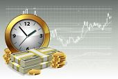 Clock and money on a background of the exchange graph. Time is money concept. Vector illustration.