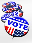 pic of election campaign  - Election day vote buttons stack together on white - JPG