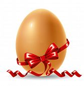 Easter egg decorated with red ribbon. Vector image.
