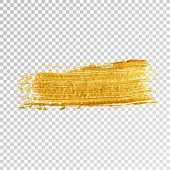 Gold Paint Smear Stroke Stain,  Brush Stroke On White Background. Abstract Gold Glittering Texture.  poster