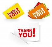 Thank you - grateful cards. Vector illustration.