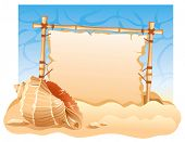 picture of summer beach  - Bamboo Frame with seashell - JPG
