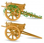 vintage wooden cart, detailed vector illustration