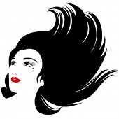 isolated woman silhouette with flowing hair for cosmetic products design (VECTOR version)