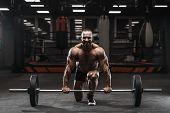 Brutal Strong Bodybuilder Athletic Men Pumping Up Muscles With Dumbbells poster