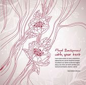 Floral background with cherry line art and a space for your text