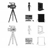 A Movie Camera, A Suit For Special Effects And Other Equipment. Making Movies Set Collection Icons I poster