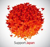japan flag shaped from origami birds