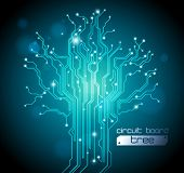 circuit board tree background - creative idea vector