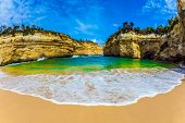 The Great Ocean Road of Australia. The concept of exotic, active and photo-tourism. Magnificent litt poster