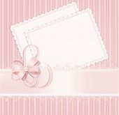 congratulation pink vector background with lace, ribbons, bows