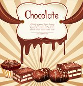 vector holiday background with chocolate candy and chocolate stains