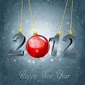 New Year's background with the numbers 2012 and a red New Year's ball, on a gray, luxury, vintage ba