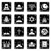 Religion Icons Set. Grunge Illustration Of 16 Religion Icons For Web poster