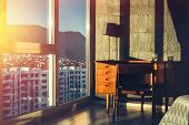 Workplace In The Apartment. Concept Of Work At Home. Apartment With City View poster