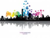 Abstract colorful city background. Vector.