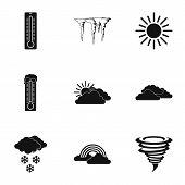 Weather Outside Icons Set. Simple Illustration Of 9 Weather Outside Icons For Web poster