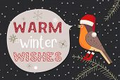 Christmas Holiday Decoration. Cute Cartoon Robin Bird In Santa Red Hat. Fancy Festive Lettering Wint poster