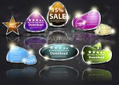 Set 3D business icon-emblems. Vector elements of design for web
