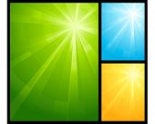 Asymmetric light burst in three color schemes with the centre in the upper right third. Use of radia
