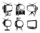 set of six monochrome TV