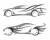 set of two monochrome car