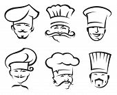 monochrome illustration of six chefs