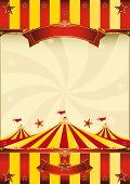 stock photo of school carnival  - red and yellow Top circus poster A red and yellow poster with a big top - JPG