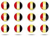 Belgian buttons set. A set of belgian buttons and caps.