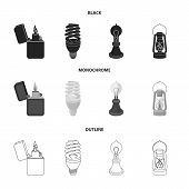 Lighter, Economical Light Bulb, Edison Lamp, Kerosene Lamp.light Source Set Collection Icons In Blac poster